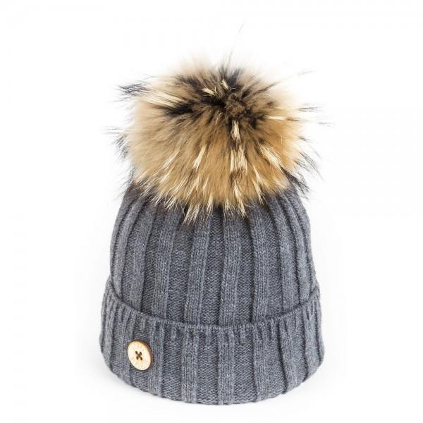 U Capa Lexus Gris bonnet pompon fourrure