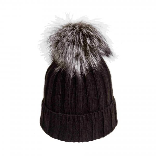 U Capa Lexus Noir 2 bonnet pompon fourrure gris