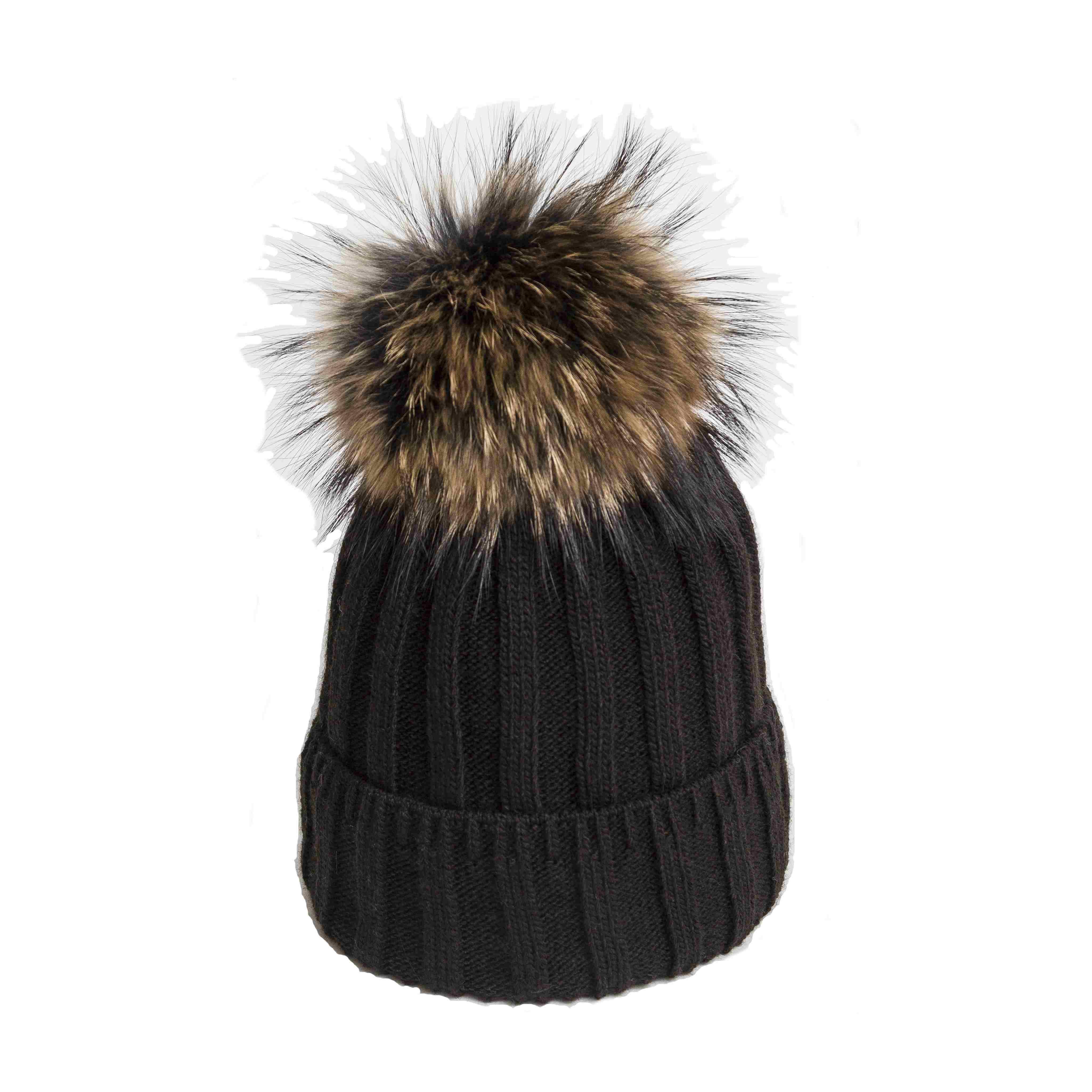 584183a3627 Black Bobble Hat With Fur Bobble