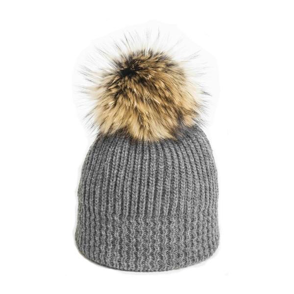 U Capa Shiny Gris bonnet pompon fourrure