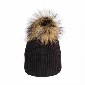 U Capa Shiny Noir bonnet pompon fourrure