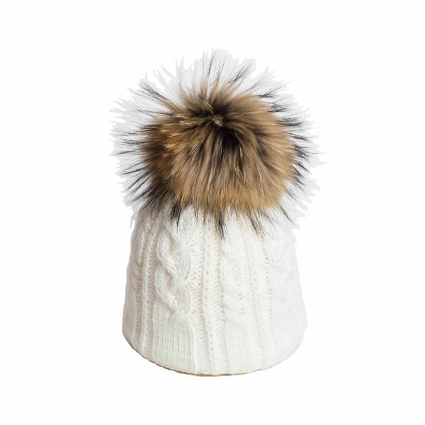 U Capa Twisty Ecru bonnet pompon fourrure