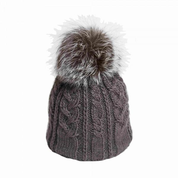 U Capa Twisty Gris bonnet pompon fourrure gris