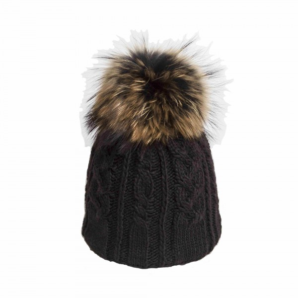 U Capa Twisty Noir bonnet pompon fourrure