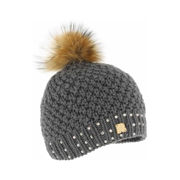bonnet pompon fourrure ICE-8165 gris