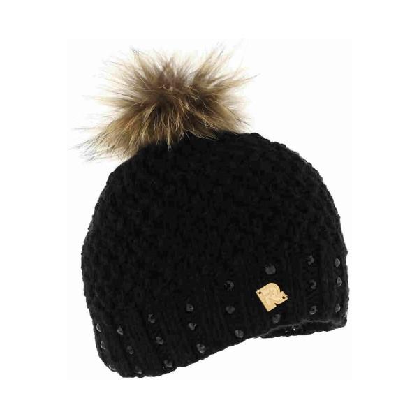 bonnet pompon fourrure ICE-8165 noir
