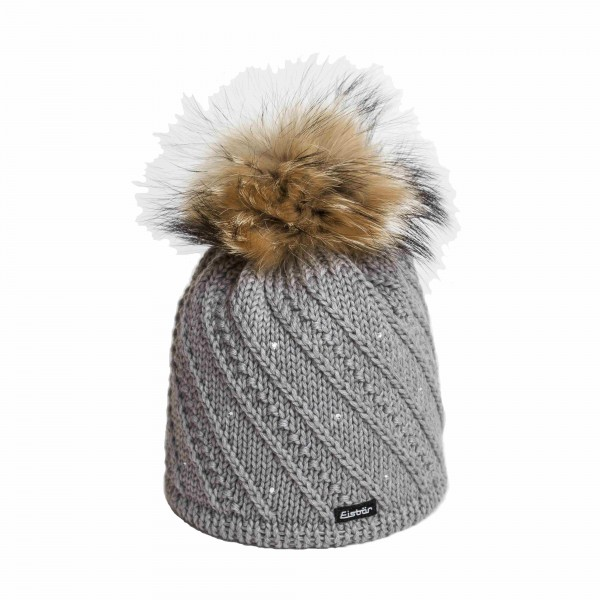 eisbar sinja gris bonnet pompon fourrure