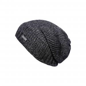 Bonnet long Eisglut oversize Valora noir chiné