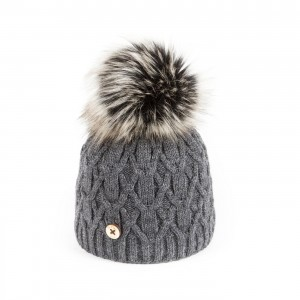 U Capa Dark Grey Lily Fake Fur Bobble Hat - Blue Melon d660bae6871