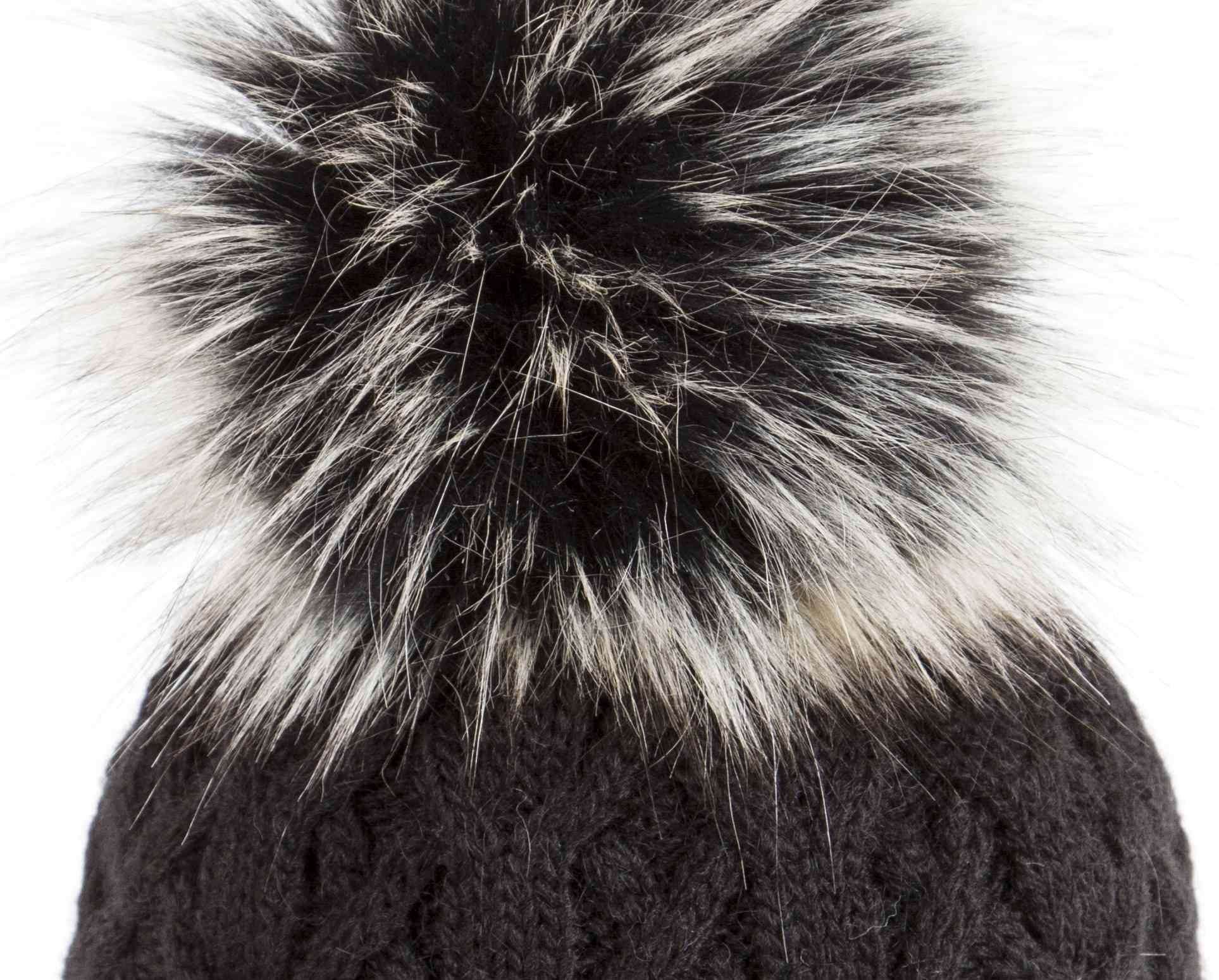 u capa black shiny fur pompon beanie blue. Black Bedroom Furniture Sets. Home Design Ideas