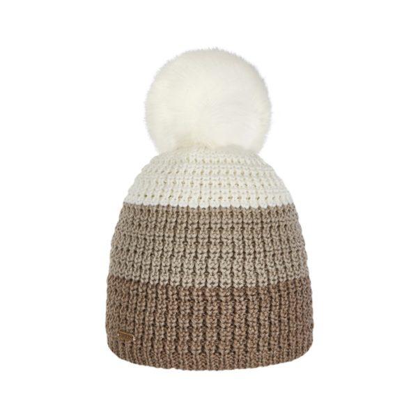 Bonnet ski pompon Brekka cristallo stripe eco pon beige BRFM4003 VIS