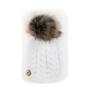 U Capa bonnet pompon fausse fourrure Alena blanc
