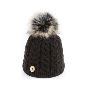 U Capa bonnet pompon fausse fourrure Alena noir
