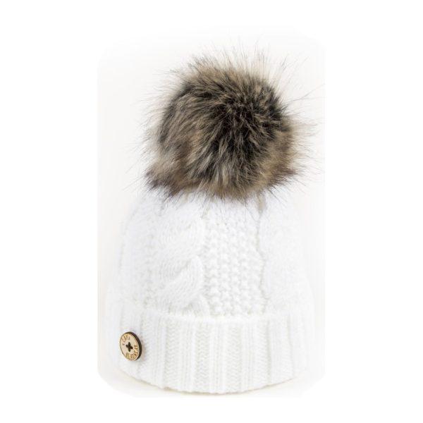 U Capa bonnet pompon fausse fourrure Beauty blanc