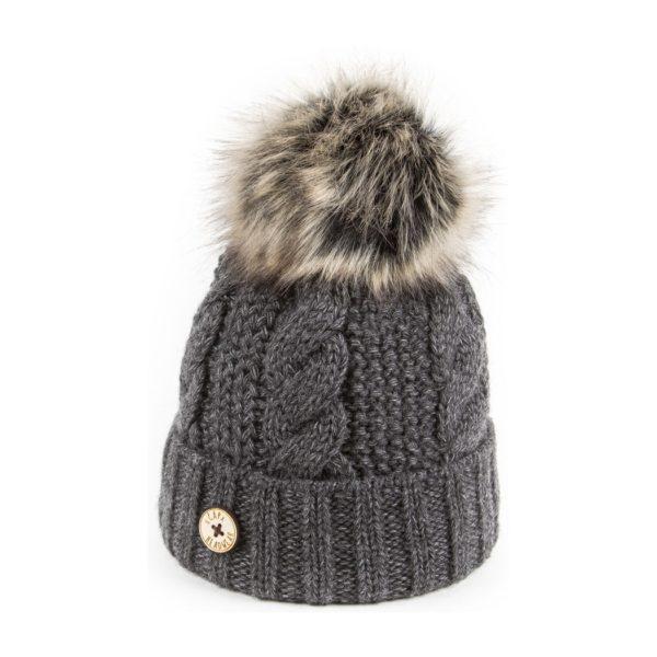 U Capa bonnet pompon fausse fourrure Beauty gris foncé