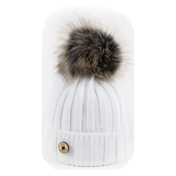 U Capa bonnet pompon fausse fourrure Lexus blanc