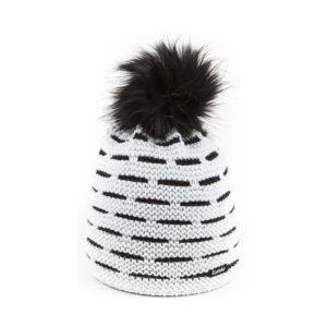 bonnet pompon fausse fourrure Eisbar Aldona blanc noir