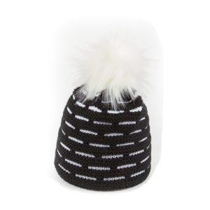 bonnet pompon fausse fourrure Eisbar Aldona noir blanc