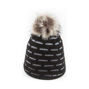 bonnet pompon fausse fourrure Eisbar Aldona noir gris
